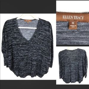 Ellen Tracy black with white and gray pattern